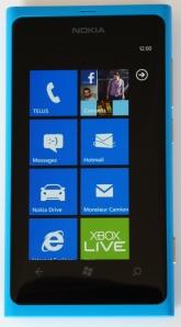 L'écran de démarrage du Nokia Lumia 800
