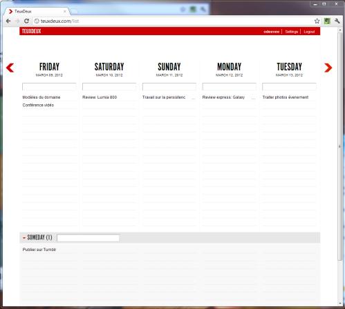 Capture d'écran d'une semaine sur TeuxDeux