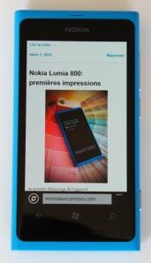 Naviguer le web avec le Nokia Lumia 800