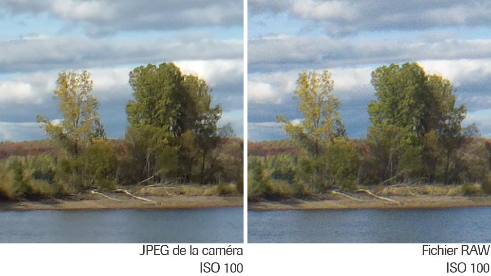 Comparaison du fichier JPEG et RAW du HS30EXR à ISO 100